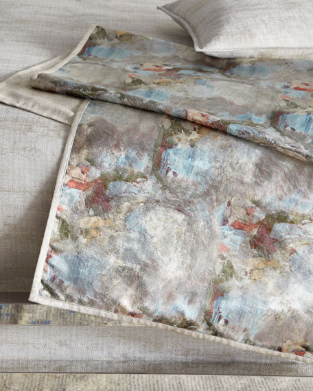 Fino Lino Linen & Lace Crazy Monet King Bed Scarf