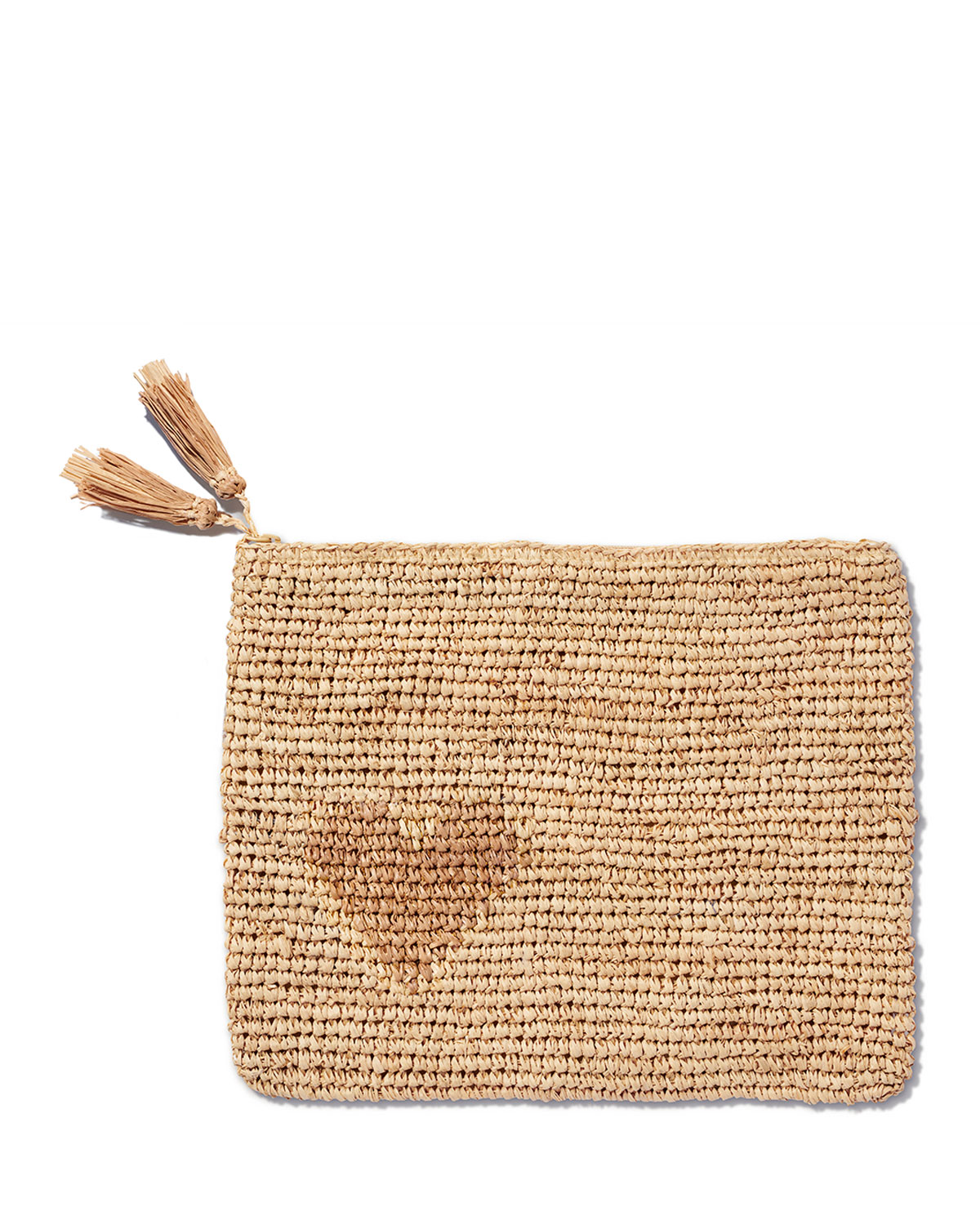 Heart Natural Raffia Zip Pouch by Aerin