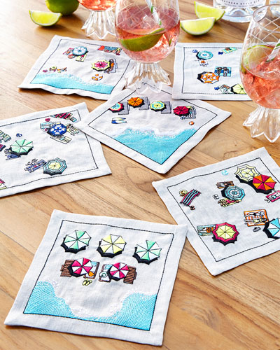 Beach Day Cocktail Napkins  Set of 6