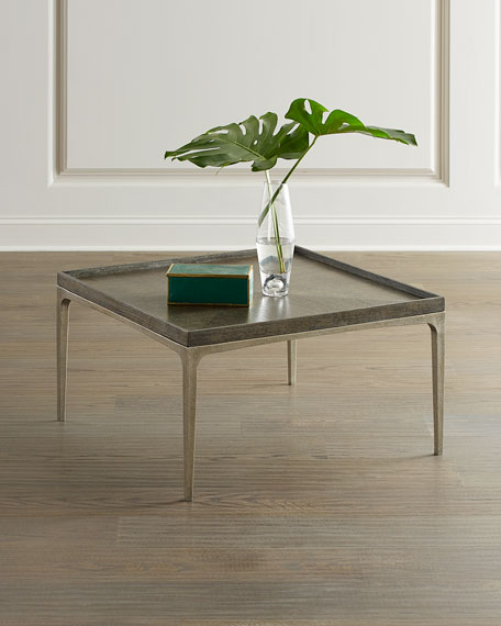 Image 1 of 3: Bernhardt Strata Cerused Charcoal Square Coffee Table