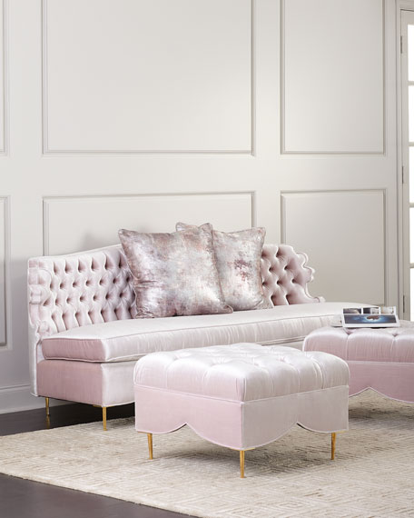 """Haute House Valentina Sofa, 83"""" and Two Tufted Ottomans"""