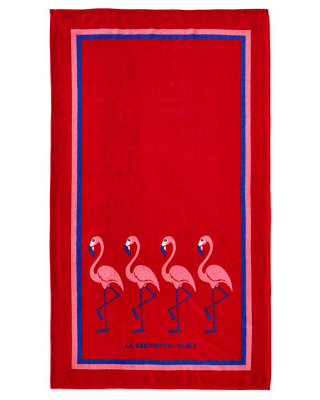La Serviette Paris Flamingo Beach Towel, Red