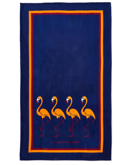 La Serviette Paris Flamingo Beach Towel, Blue