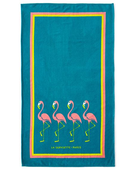 La Serviette Paris Flamingo Beach Towel, Turquoise