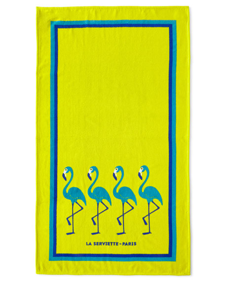 La Serviette Paris Flamingo Beach Towel, Yellow