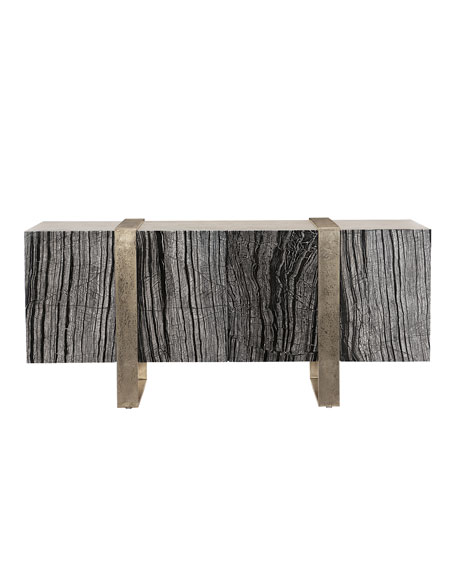 Image 4 of 4: Bernhardt Linea Black Forest Marble Console
