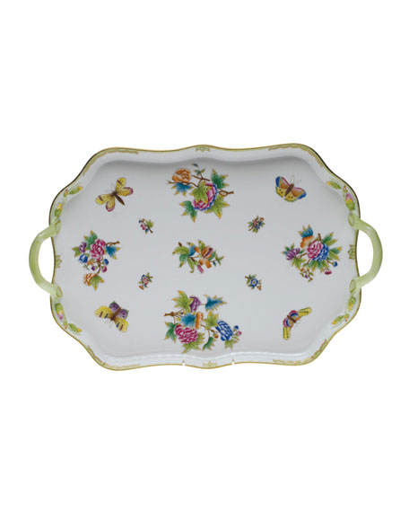 Herend Queen Victoria Rectangle Tray with Branch Handles