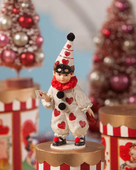 """Bethany Lowe Valentine's Day Clown Boy Figurine, 6.5"""""""