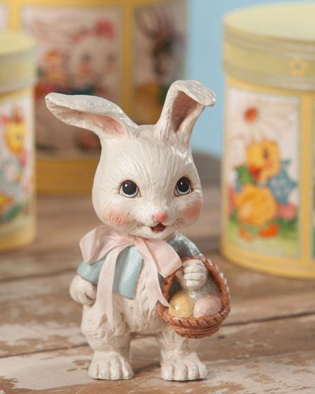 "Bethany Lowe Sweet Bunny with Basket, 7.75"""