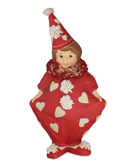 """Bethany Lowe Large Paper Mache Valentine's Day Girl Clown, 21"""""""