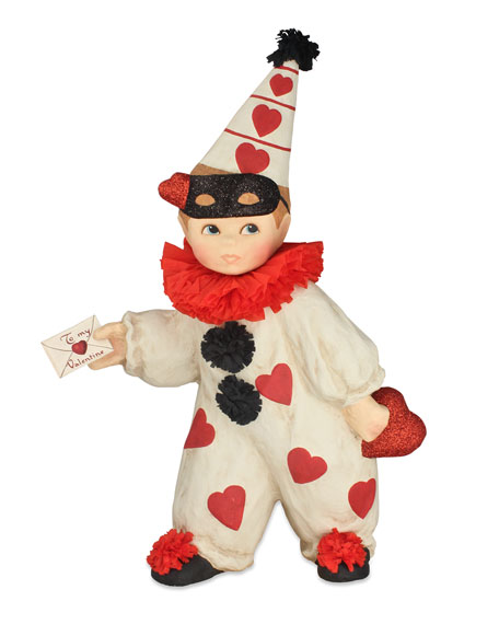 Bethany Lowe Large Paper Mache Valentine's Day Boy Clown