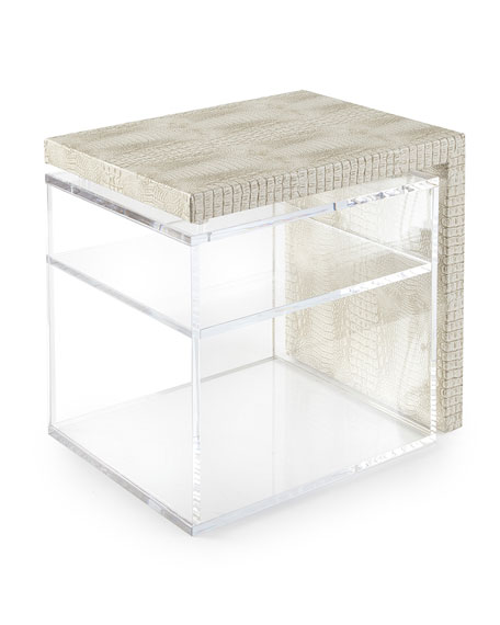 Square Feathers Florence Acrylic Side Table w/ Shelf