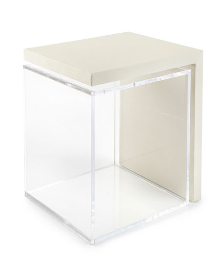 Square Feathers Mercer Acrylic Side Table