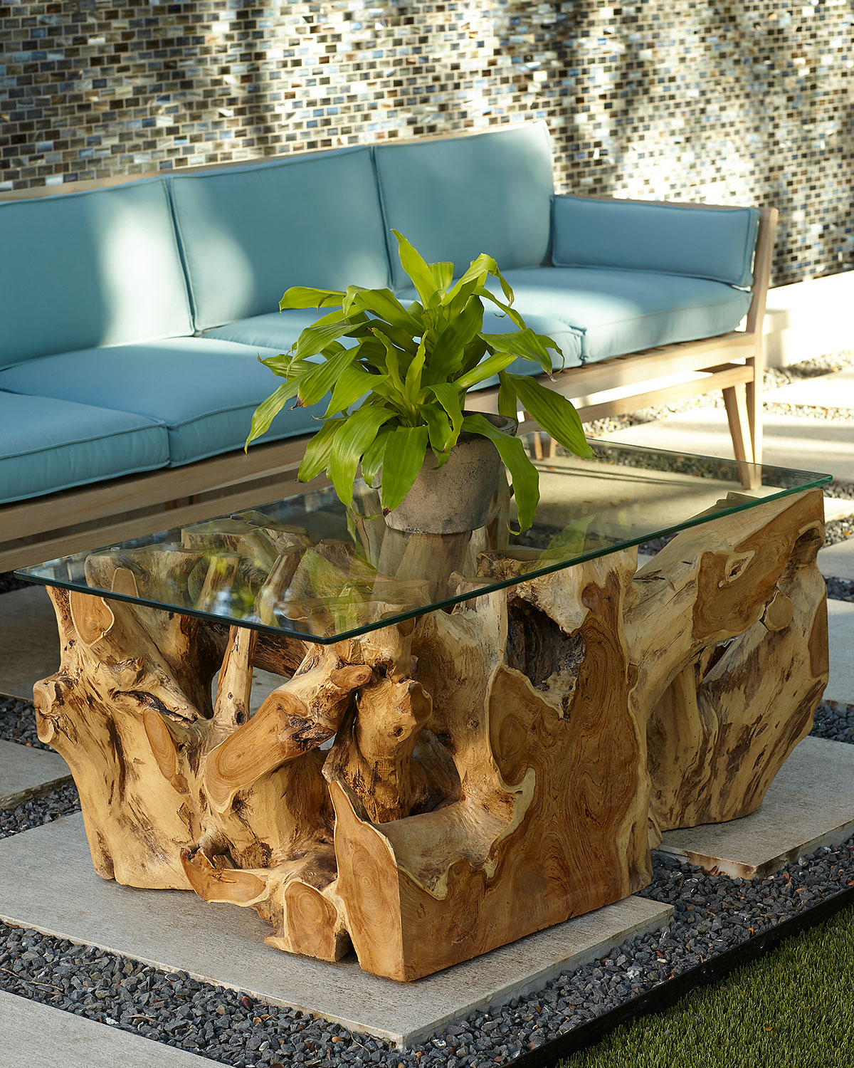 Teak Root Coffee Table with Glass Top | Neiman Marcus