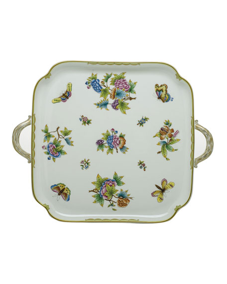 Herend Queen Victoria Square Tray with Handles
