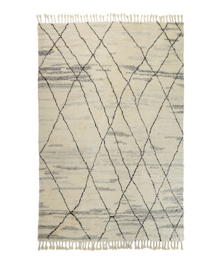 "NourCouture Kirsten Hand-Knotted Shag Area Rug, 5'6"" x 8'"