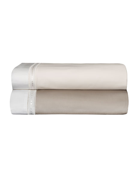 Bovi Fine Linens Devere Full/Queen Sheet Set, Ivory/White