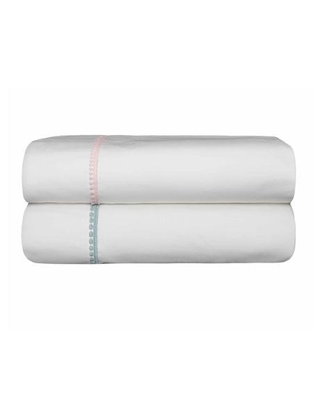 Bovi Fine Linens Bitsy Dots Twin Sheet Set, White/Aqua