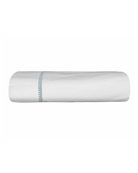 Bovi Fine Linens Bitsy Dots King Sheet Set, White/Aqua