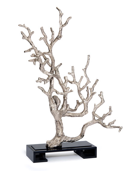 John-Richard Collection Silver Leaf Branch Sculpture
