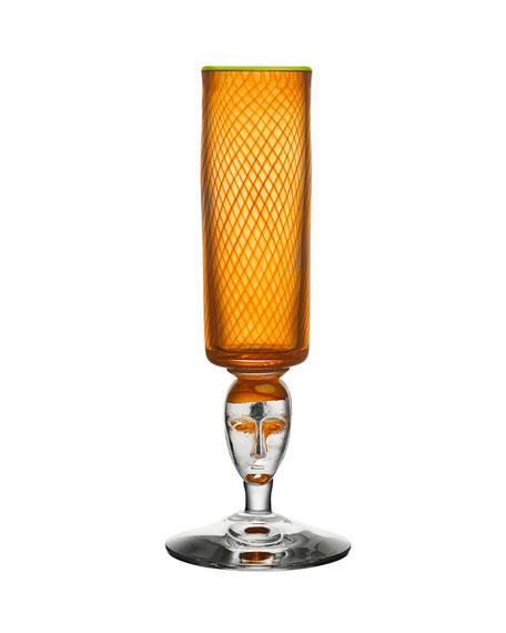 Orrefors Kosta Boda Red Rim Brains Footed Vase, Orange
