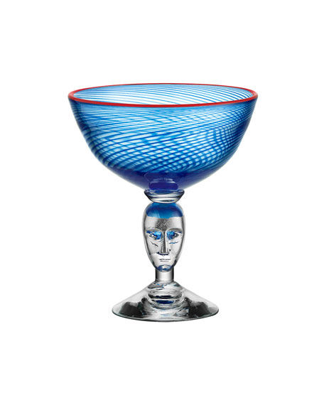 Orrefors Kosta Boda Red Rim Brains Footed Bowl, Blue