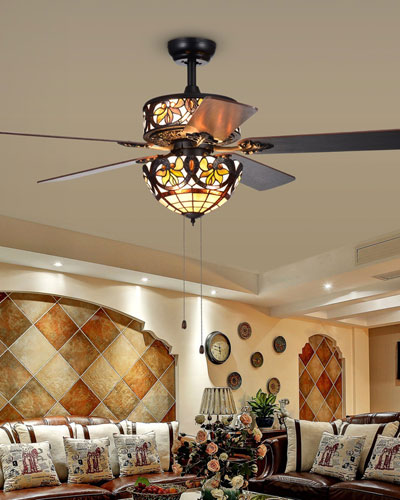Jyrku Lotus Leaf Glass Chandelier Fan