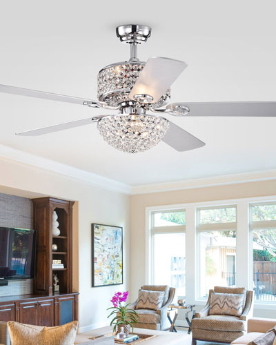 Two-Tier Prismatic Crystal Chandelier Ceiling Fan