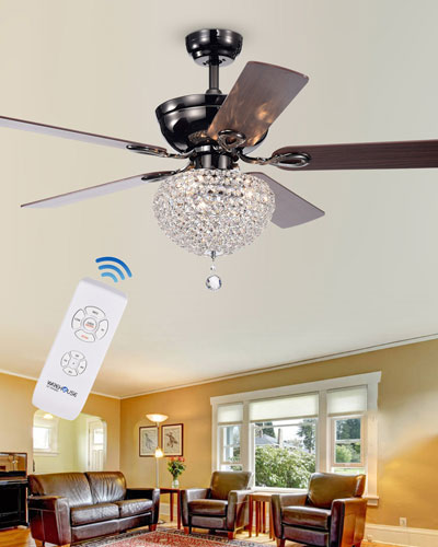 Dome Crystal Chandelier Ceiling Fan