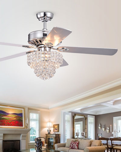 Tiered Crystal Chandelier Ceiling Fan