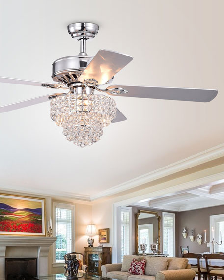 Home Accessories Tiered Crystal Chandelier Ceiling Fan