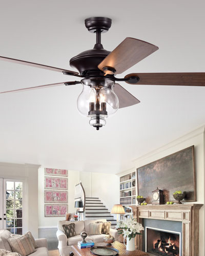 Glass Bowl Chandelier Ceiling Fan