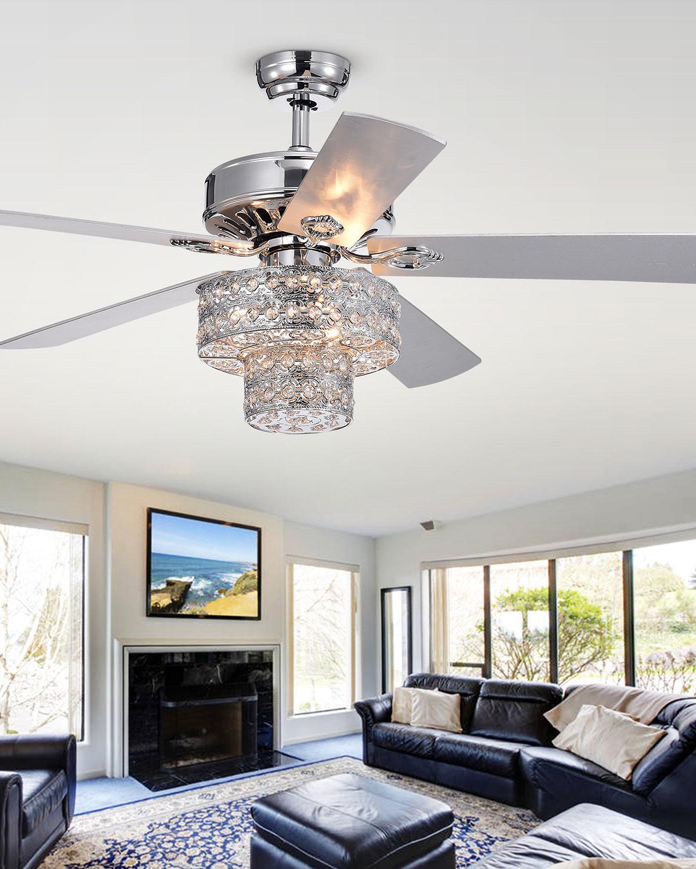 Two Tier Embedded Crystal Chandelier Ceiling Fan
