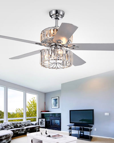 Ferris Crystal Baguette Chandelier Ceiling Fan