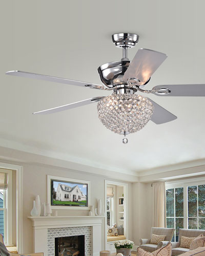 Crystal Embedded Chandelier Ceiling Fan