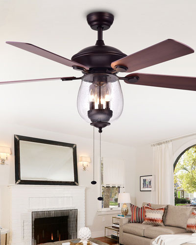 Seeded Glass Bowl Chandelier Ceiling Fan