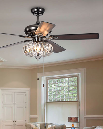 Curved Crystal Chandelier Ceiling Fan