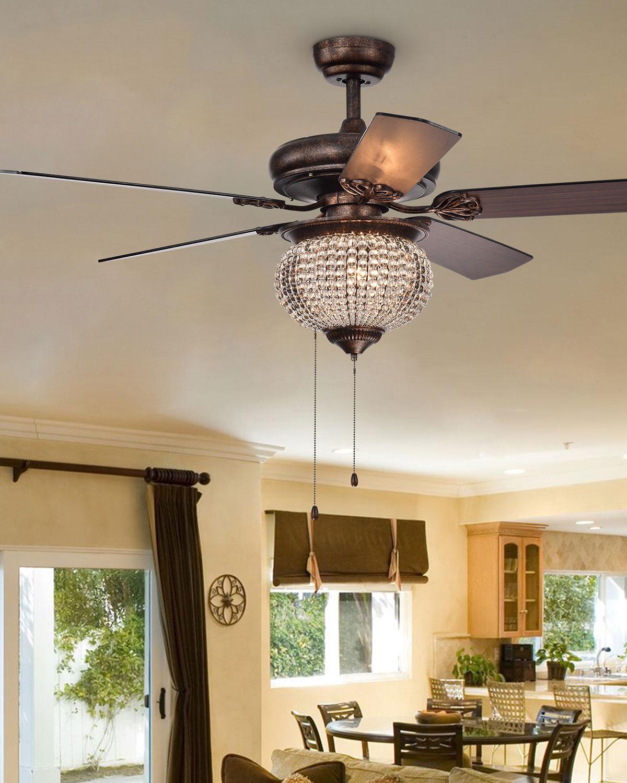 Priteen Crystal Chandelier Ceiling Fan