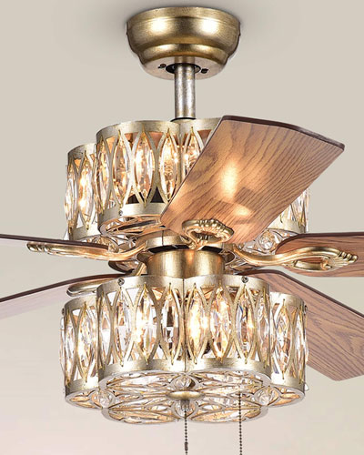 Gaspar Stacked Flower Chandelier Ceiling Fan