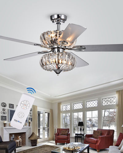 Stacked Curved Crystal Baguette Chandelier Ceiling Fan