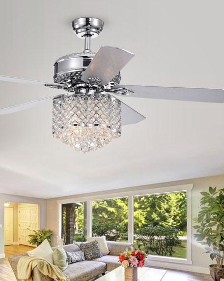 Home Accessories Deidor Flower-Shaped Metalwork & Crystal Chandelier Ceiling Fan