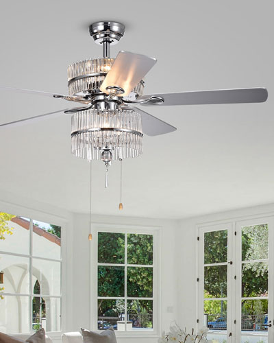 Crystal Baguette Chandelier Ceiling Fan