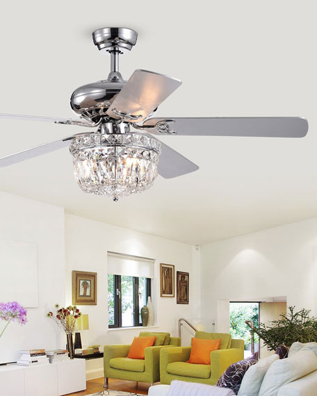 Home Accessories Crystal Dome Chandelier Ceiling Fan