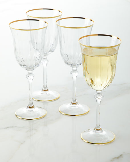 Neiman Marcus Wine Goblets with Golden Finish, Set of 4