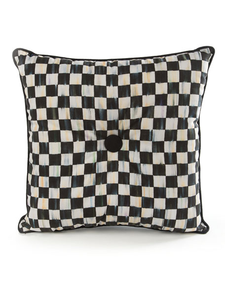 MacKenzie-Childs Courtly Check Button Pillow