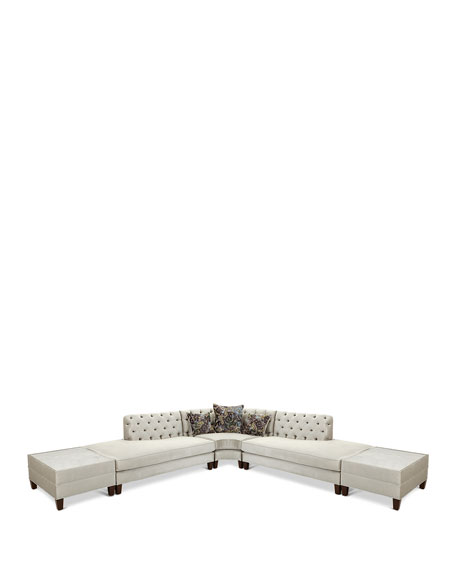 Haute House Nina 3-Piece Sectional with Two Marble-Top Side Tables