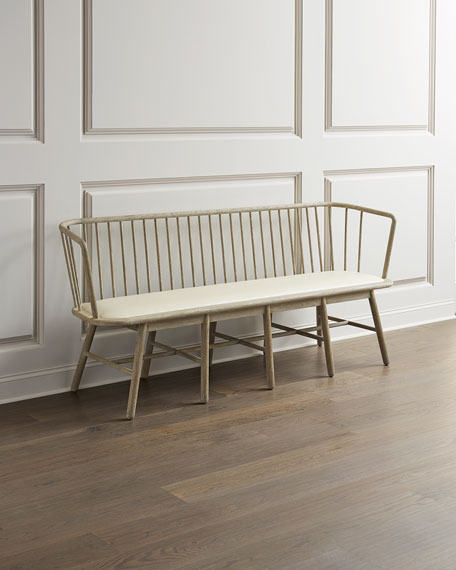 Global Views Lora Leather Spindle Bench