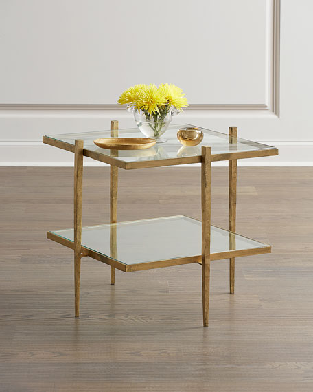 Global Views Laforge Antiqued Gold End Table