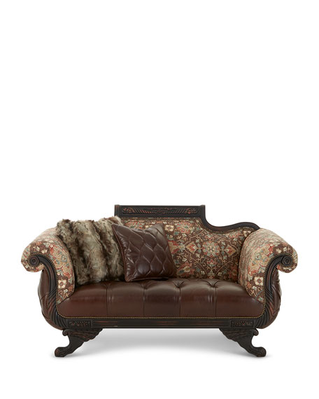 Image 3 of 4: Old Hickory Tannery Andreas Leather Tufted Settee