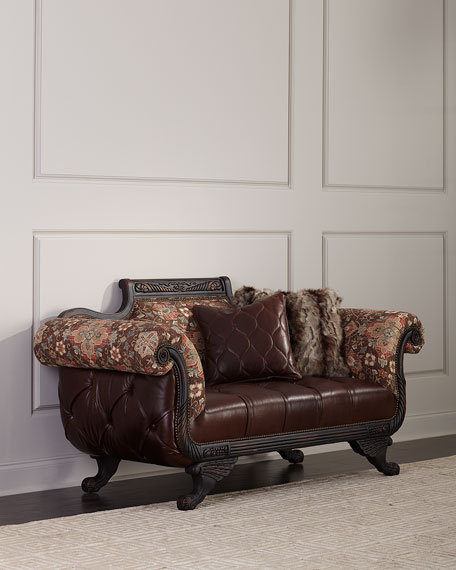 Image 1 of 4: Old Hickory Tannery Andreas Leather Tufted Settee